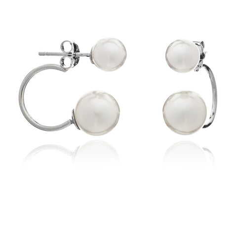 Double round cultured freshwater pearl stud earrings on sterling silver