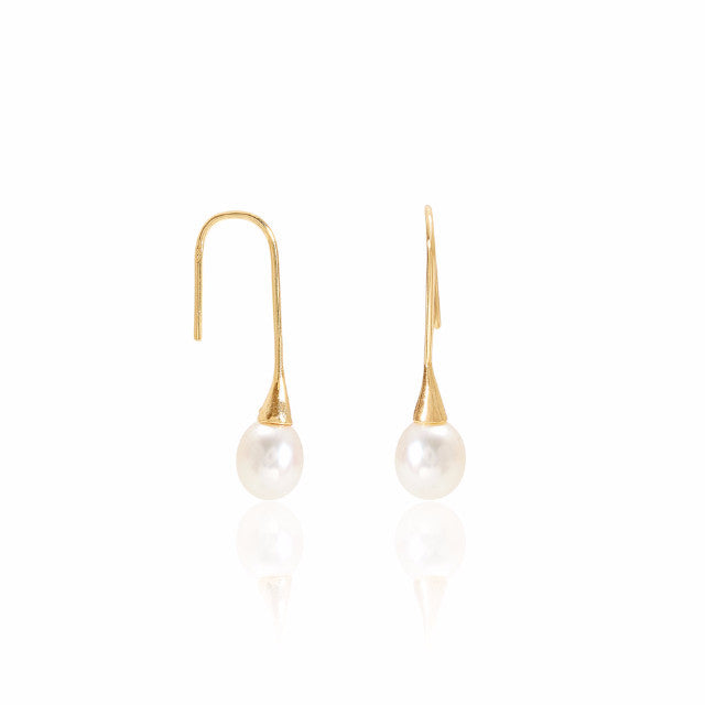 Credo gold hook earrings with cultured freshwater pearl drops