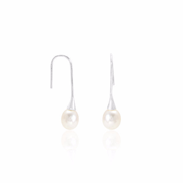 Long sterling silver hook earrings with cultured freshwater pearl drops