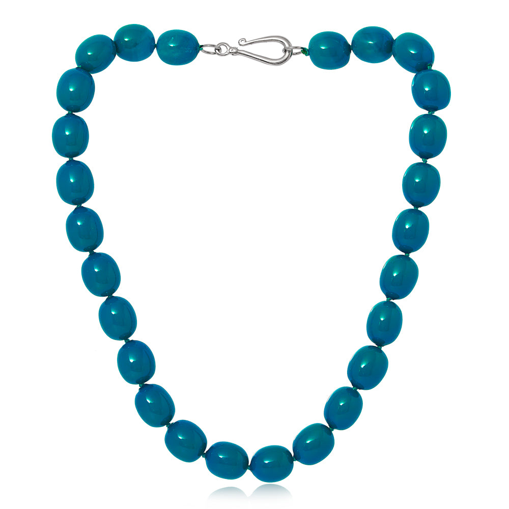 Clara large chunky dark turquoise Mother Of Pearl Necklace