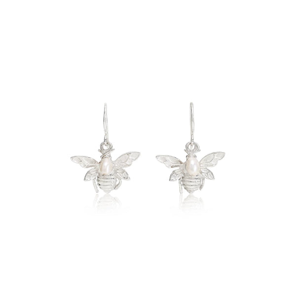Vita Silver Bumble Bee & Cultured Freshwater Pearl Drop Earrings