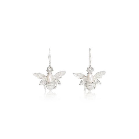 Silver Bumble Bee & Cultured Freshwater Pearl Drop Earrings