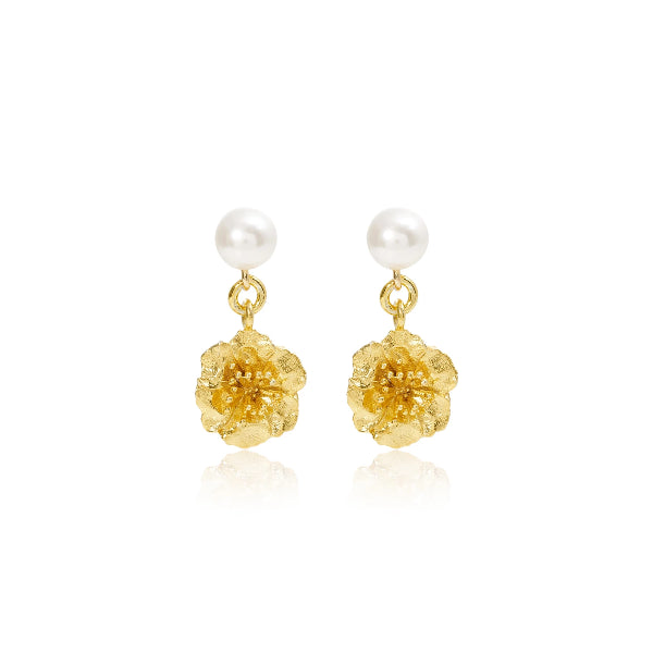 Gold Cherry Blossom & Cultured Freshwater Pearl Earrings