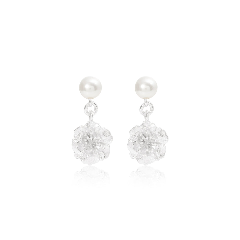 Vita Silver Cherry Blossom & Cultured Freshwater Pearl Drop Earrings