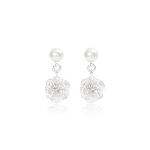 Silver Cherry Blossom & Cultured Freshwater Pearl Drop Earrings