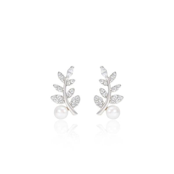 Ivy style cultured freshwater pearl stud earrings