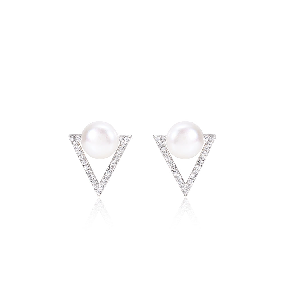 Triangular style cultured freshwater pearl stud earrings