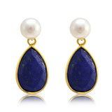Clara Cultured Freshwater Pearl & Lapis Lazuli Drop Earrings