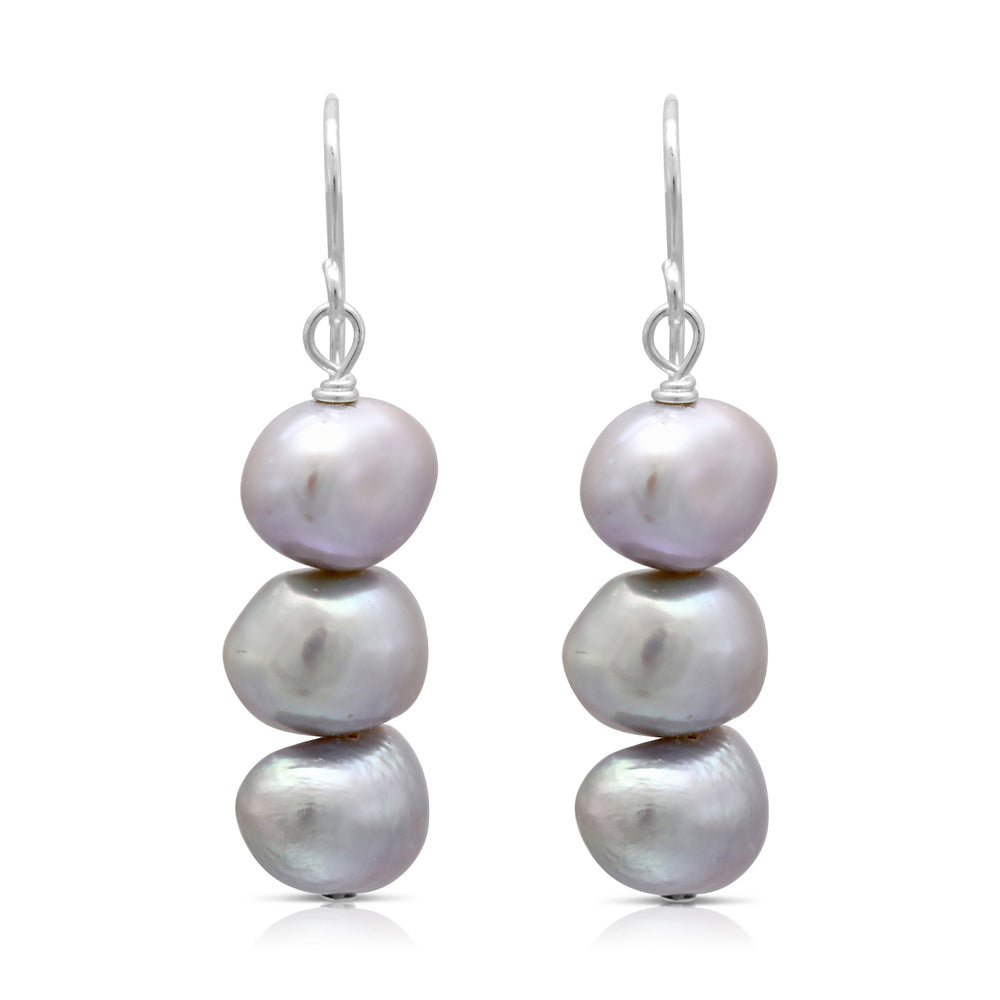 Margarita silver grey irregular cultured freshwater pearl drop earrings