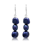 Margarita navy cultured freshwater pearl drop earrings on sterling silver hooks.