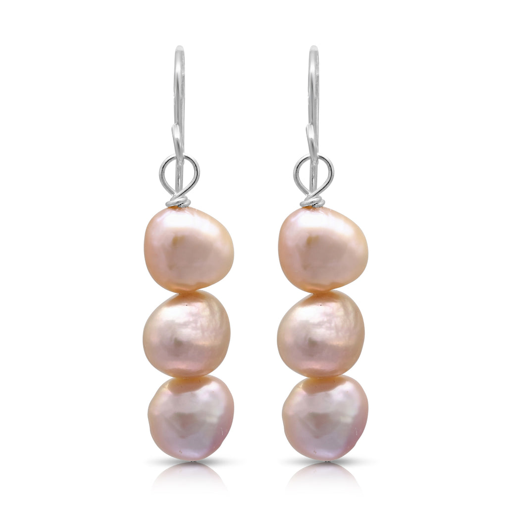 Pink irregular cultured freshwater pearl drop earrings