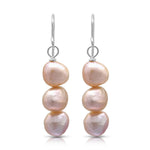 Margarita pink irregular cultured freshwater pearl drop earrings