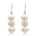 Margarita white irregular cultured freshwater pearl drop earrings