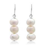 White irregular cultured freshwater pearl drop earrings