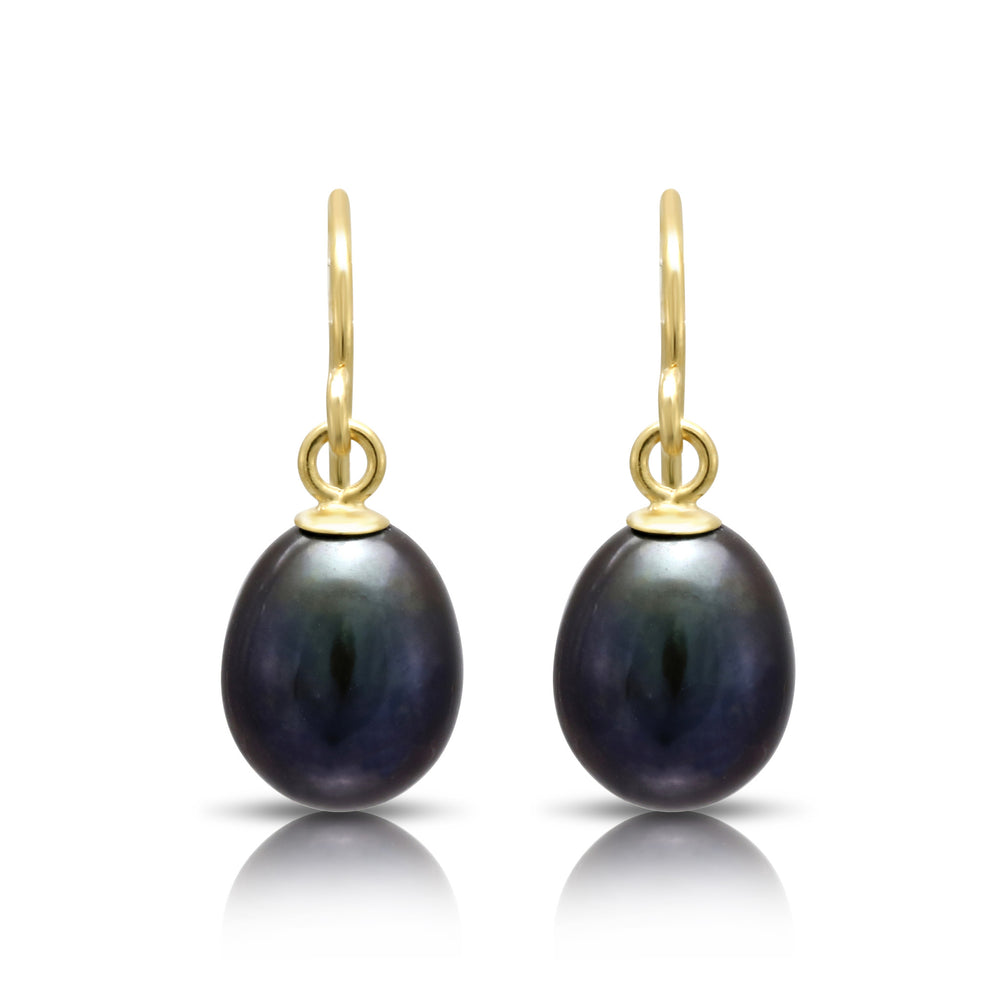 Gratia black teardrop cultured freshwater pearl earrings