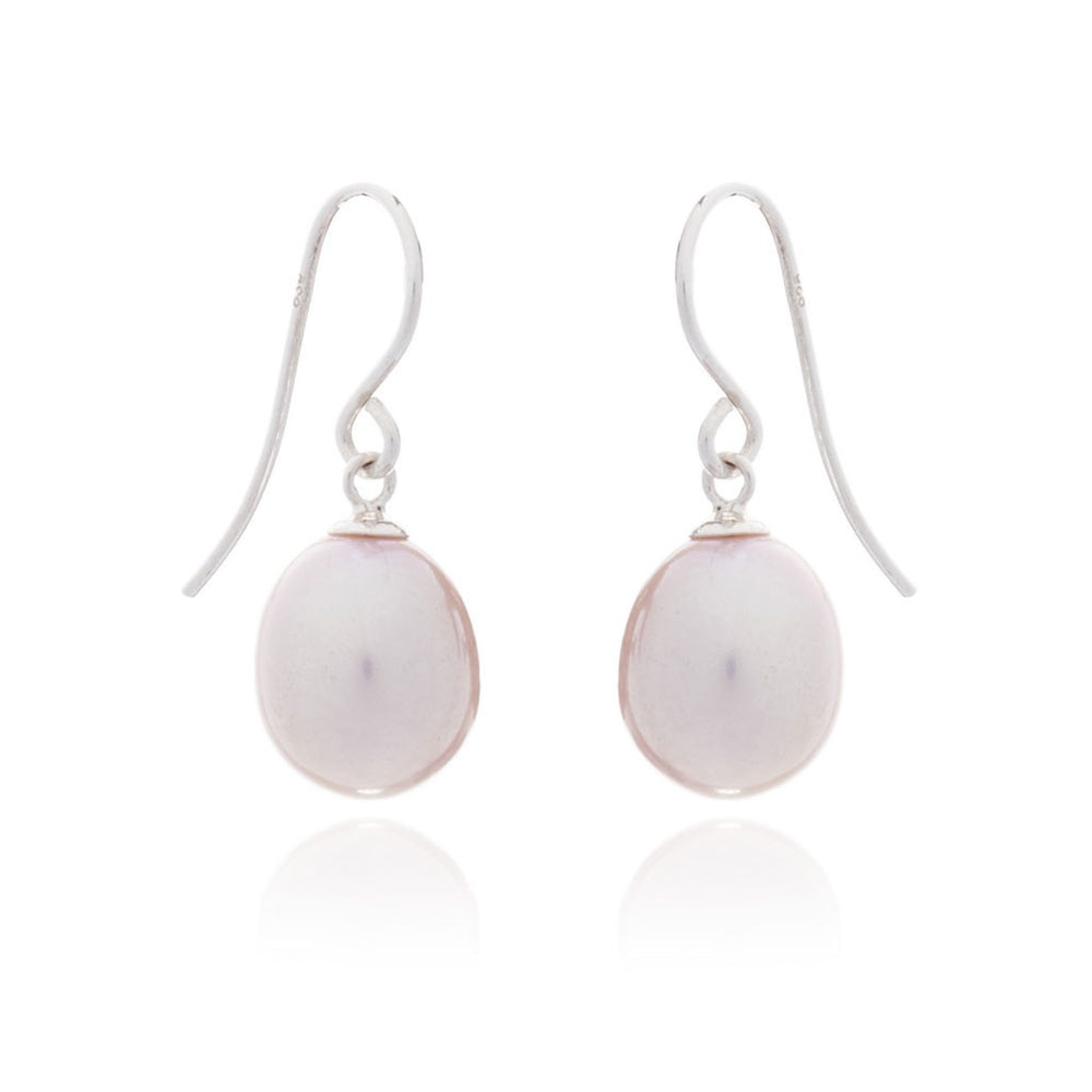 Pink teardrop cultured freshwater pearl earrings
