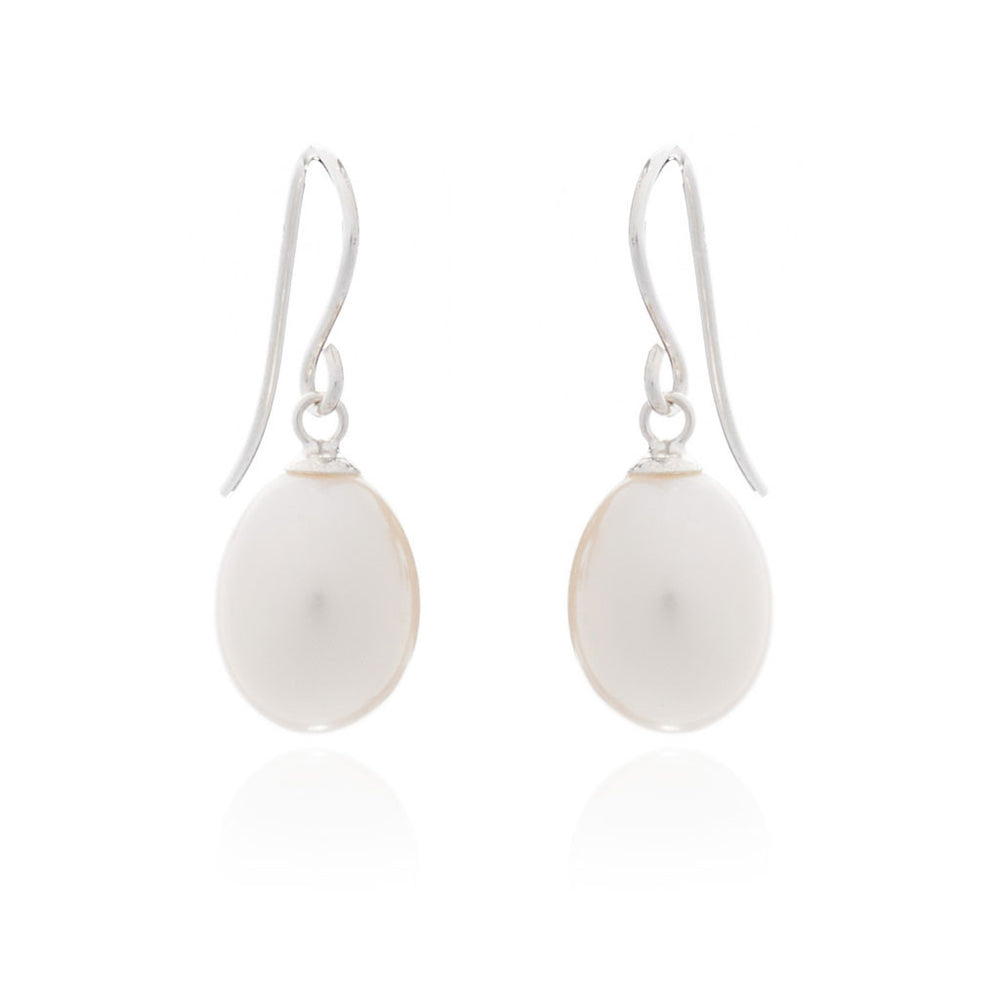 Gratia white teardrop cultured freshwater pearl earrings