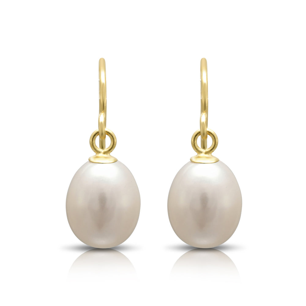 White teardrop cultured freshwater pearl earrings