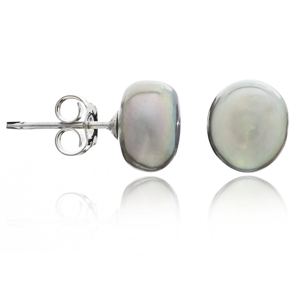 Margarita silver grey irregular cultured freshwater pearl stud earrings