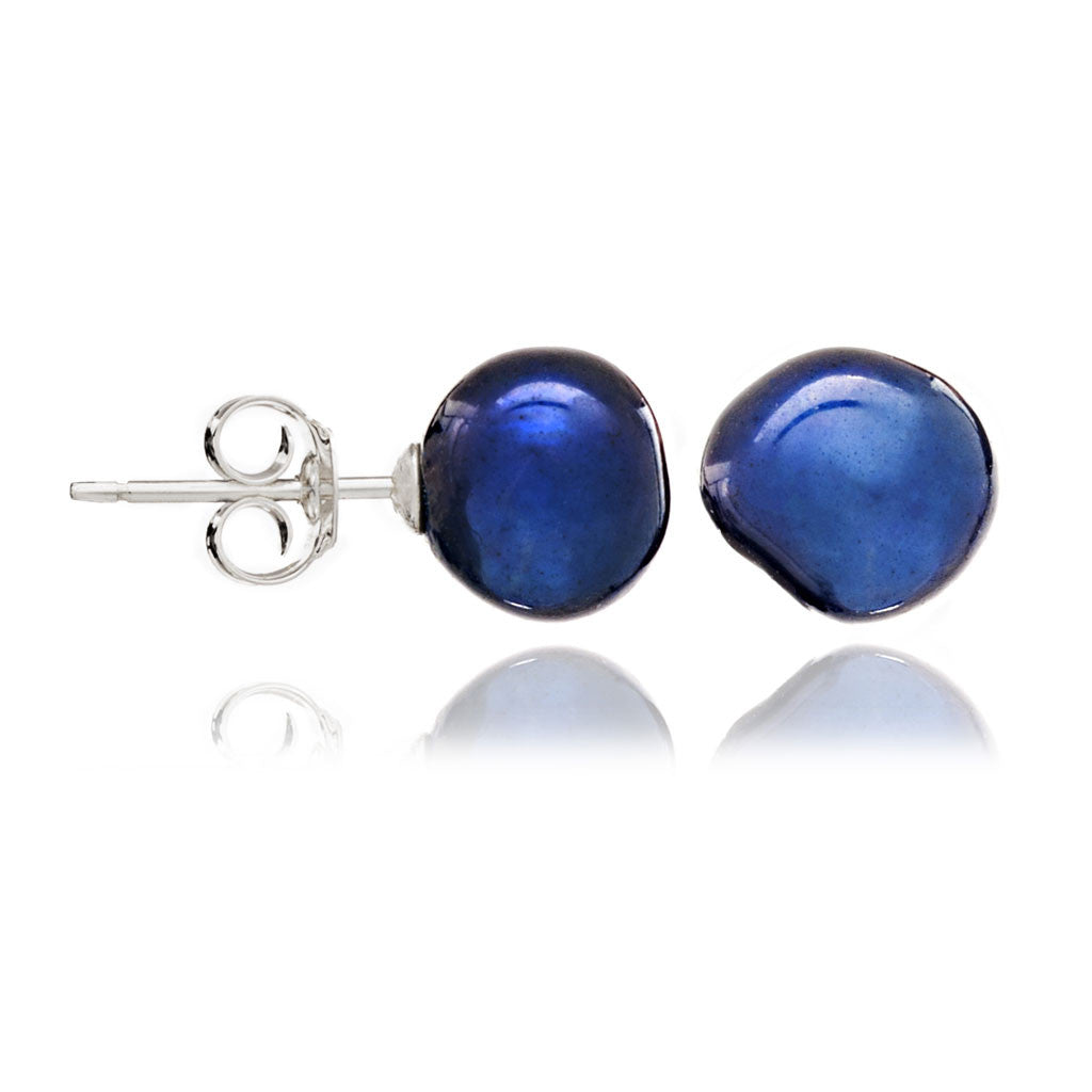 Navy blue irregular cultured freshwater pearl stud earrings