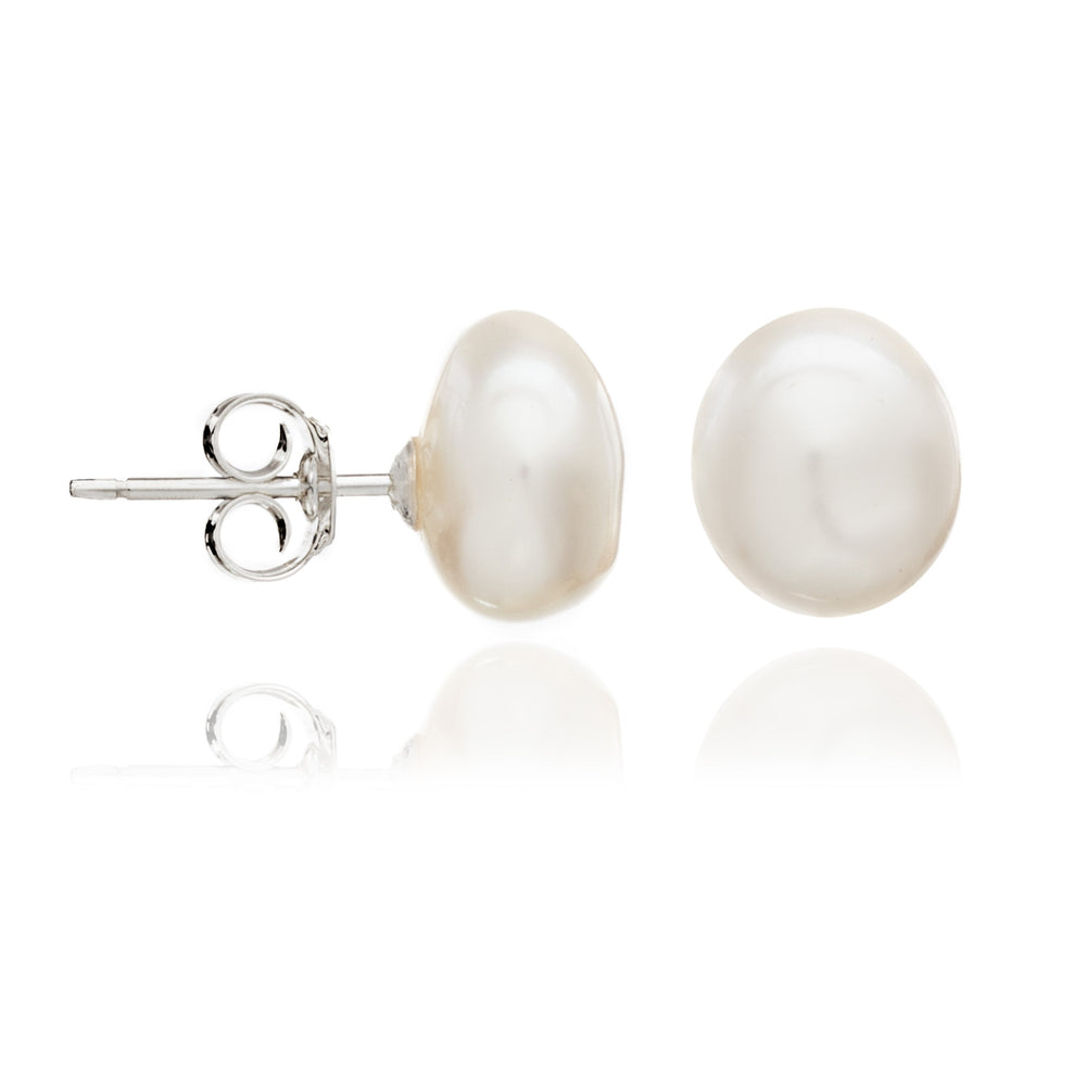 Margarita white irregular cultured freshwater pearl stud earrings