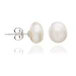 White irregular cultured freshwater pearl stud earrings