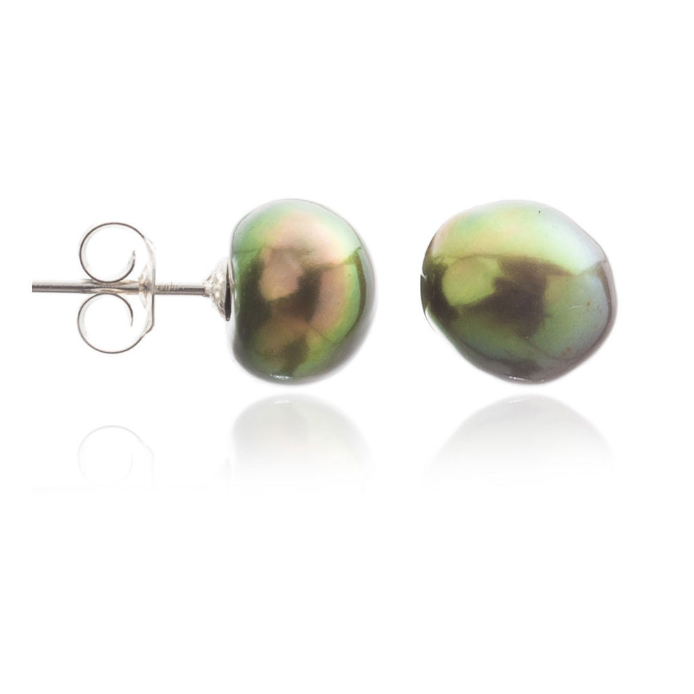 Margarita dark green irregular cultured freshwater pearl studs