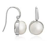 Large cultured freshwater pearl drop earrings with silver surround