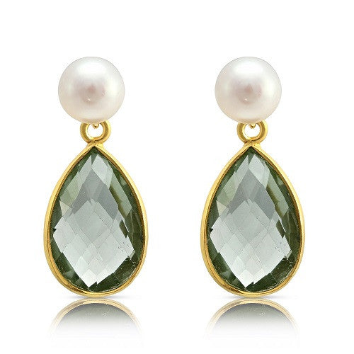 Cultured Freshwater Pearl & Green Amethyst Drop Earrings