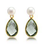 Clara Cultured Freshwater Pearl & Green Amethyst Drop Earrings