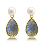 Clara Cultured Freshwater Pearl & Labradorite Drop Earrings