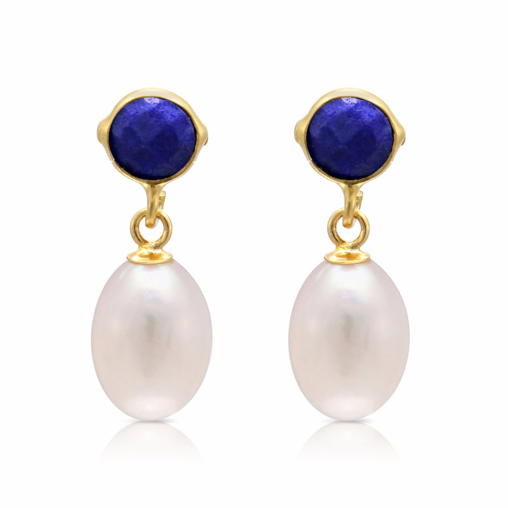 Clara lapis lazuli & cultured freshwater pearl drop earrings