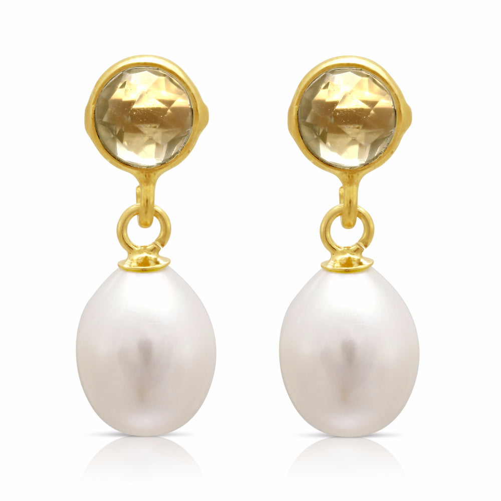 Clara lemon topaz & cultured freshwater pearl drop earrings
