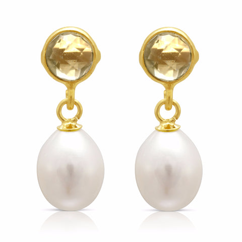 Lemon topaz & cultured freshwater pearl drop earrings