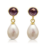 Clara amethyst & cultured freshwater pearl drop earrings