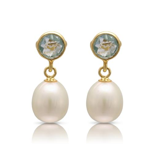 Clara blue topaz & cultured freshwater pearl drop earrings