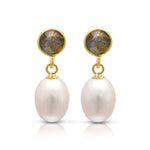 Clara labradorite & cultured freshwater pearl drop earrings