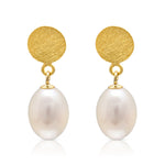 Gold Disc Earrings with Cultured Freshwater Pearl Drops