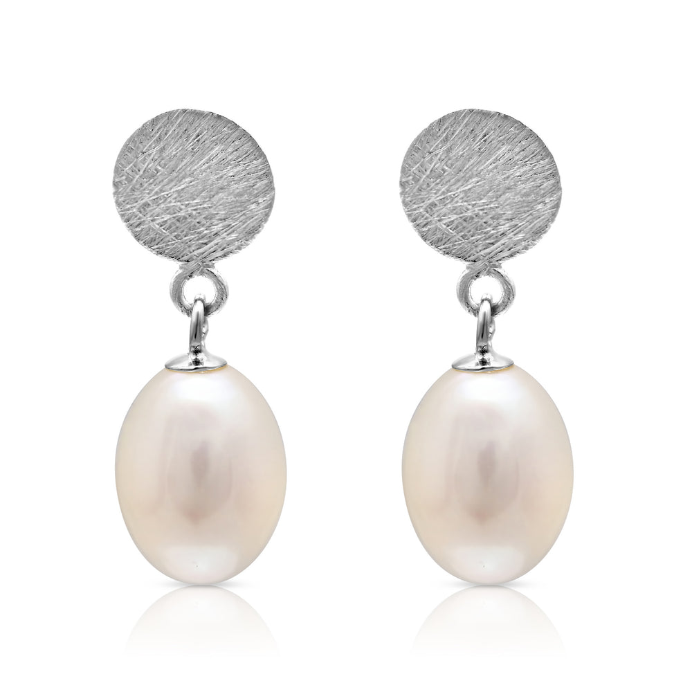 Credo Silver Disc Earrings with Cultured Freshwater Pearl Drops