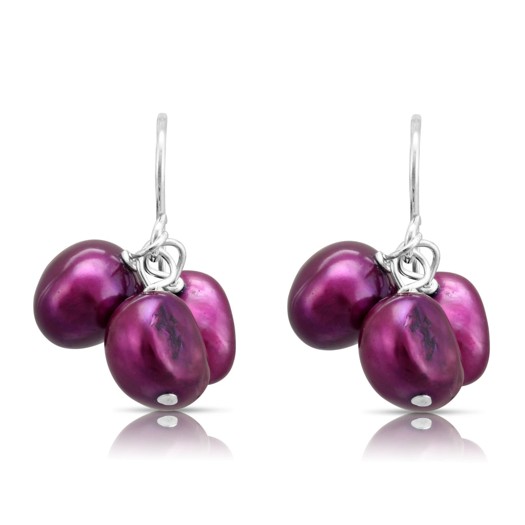 Red purple cultured freshwater pearl drop earrings on silver.