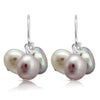 Pink, grey & white irregular cultured freshwater pearl cluster earrings