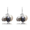 Black, grey & white cultured freshwater pearl drop earrings on silver.