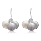 Grey & white cultured freshwater pearl drop earrings on silver