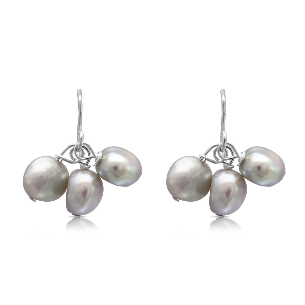 Silver grey irregular cultured freshwater pearl cluster earrings