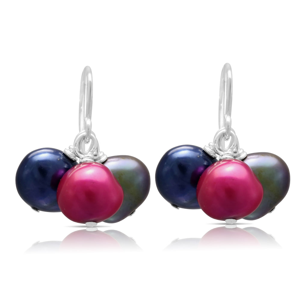 Multi-colour irregular cultured freshwater pearl cluster earrings