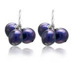 Margarita navy cultured freshwater pearl drop earrings on silver.