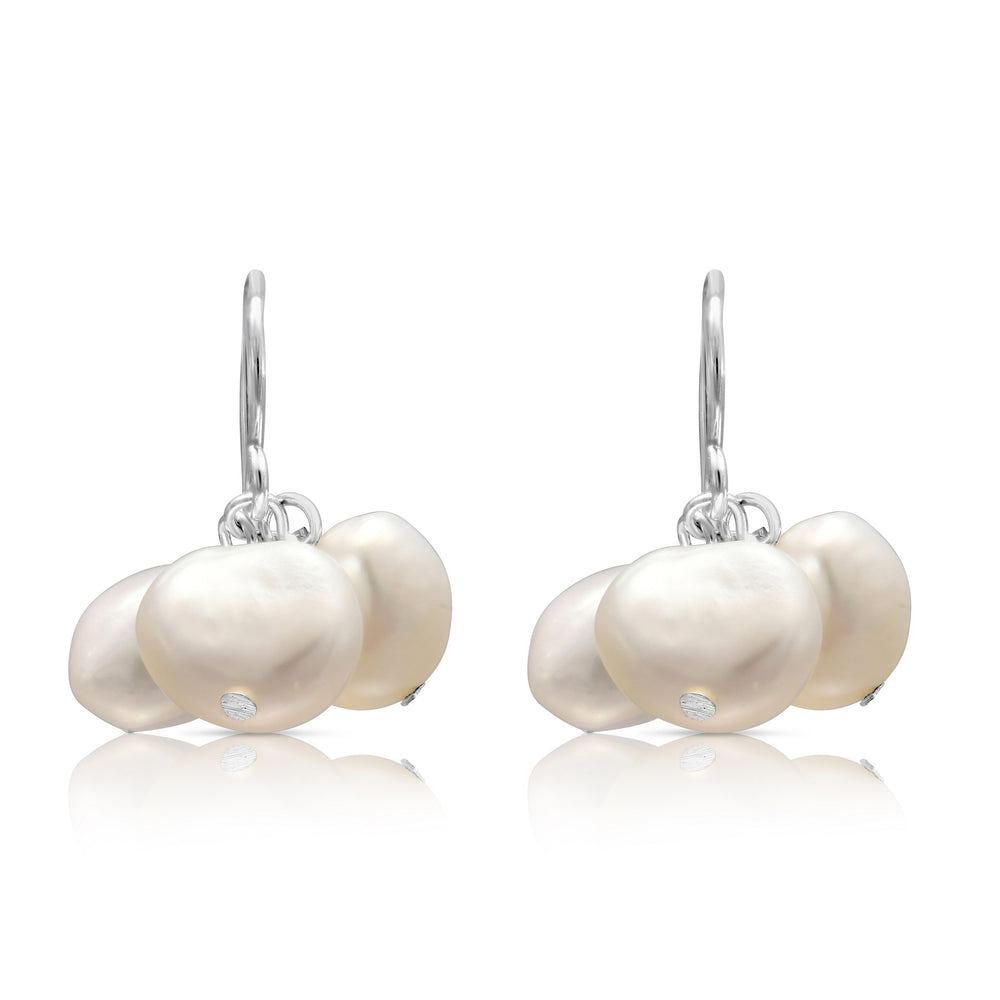 White irregular cultured freshwater pearl cluster earrings