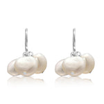 Margarita white irregular cultured freshwater pearl cluster earrings