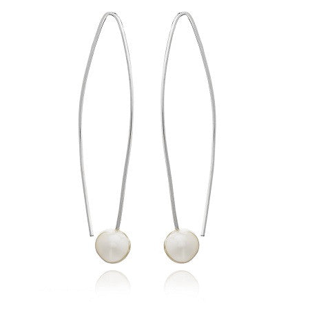 Long silver earrings with white cultured freshwater pearls