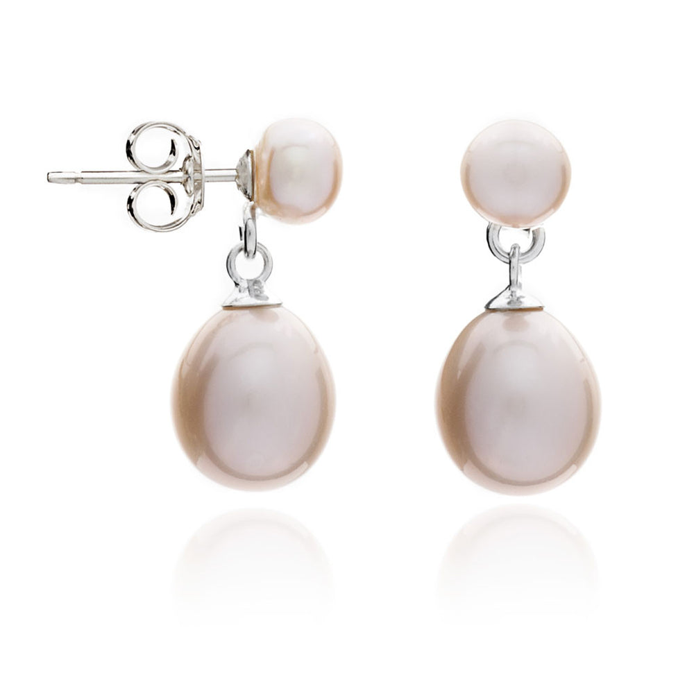 Pink button cultured freshwater pearl stud with teardrop earrings